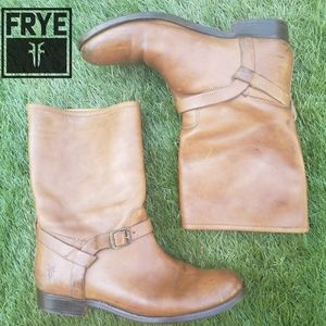 Frye boots. Mid heigh light brown leather size 6